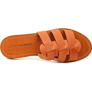 Lucky Brand Womens Open Toe Leather Flat Sandals